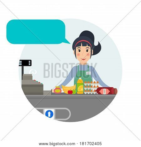 Female grocery cashier with speech bubble at workplace. Smiling woman at the cashier desk with food. EPS10 vector illustration in flat style.