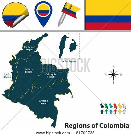 Map Of Colombia With Natural Regions