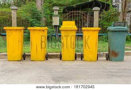 Trash bin with Green and Clean Environment