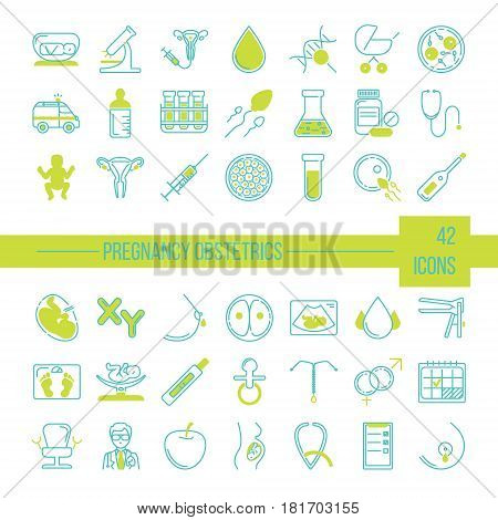Pregnancy and obstetrician vector thin line icon set. Clean and modern line style vector art.