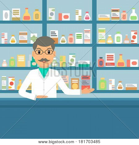 Smiling gesturing man farmacist at the counter against shelves with drugs and medicines. Drugstore male salesperson at work. Vector illustration in flat style.