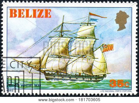 UKRAINE - CIRCA 2017: A postage stamp printed in Belize shows sailing ship Whitby 1838 from the series Historic ships circa 1982