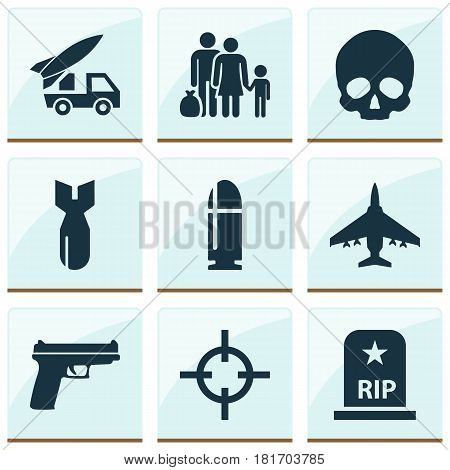 Battle Icons Set. Collection Of Target, Fugitive, Cranium And Other Elements. Also Includes Symbols Such As Gun, Skull, Bomber.