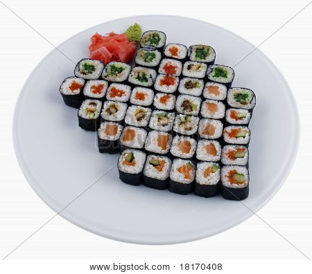 Photo of a rolled and sushi on plate poster