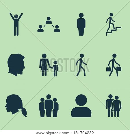 Person Icons Set. Collection Of Beloveds, Family, Happy And Other Elements. Also Includes Symbols Such As Delivery, Couple, Avatar.