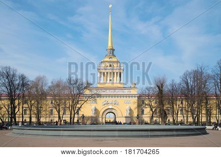 SAINT PETERSBURG, RUSSIA - APRIL 10, 2017: Facade of the main building of the Admiralty, sunny April day