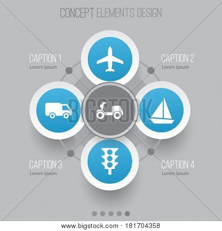 Shipment Icons Set. Collection Of Aircraft, Stoplight, Truck And Other Elements. Also Includes Symbols Such As Traffic, Moped, Aircraft.