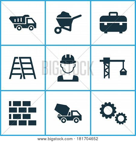 Building Icons Set. Collection Of Lifting Hook, Stair, Truck And Other Elements. Also Includes Symbols Such As Worker, Gear, Climb.