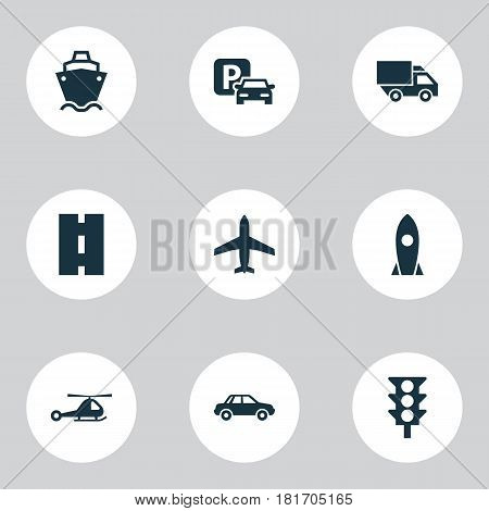 Shipment Icons Set. Collection Of Aircraft, Spaceship, Chopper And Other Elements. Also Includes Symbols Such As Spaceship, Aircraft, Highway.