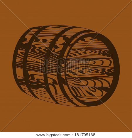 Silhouette of the barrel on a brown background.
