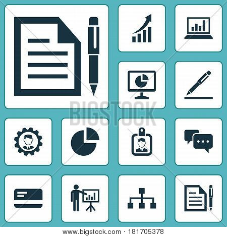 Job Icons Set. Collection Of Chatting, Presenting Man, Statistics And Other Elements. Also Includes Symbols Such As Arrow, Manager, Structure.