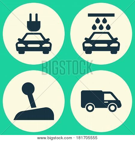 Automobile Icons Set. Collection Of Plug, Truck, Stick And Other Elements. Also Includes Symbols Such As Electric, Lorry, Truck.
