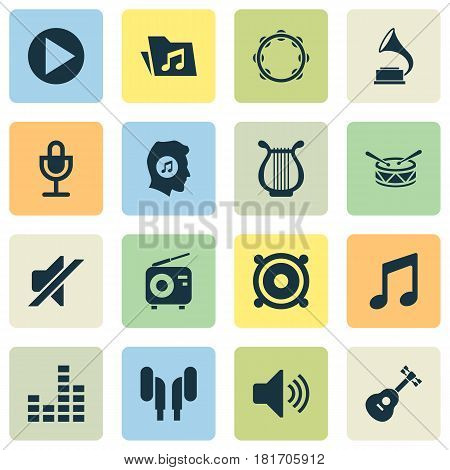 Music Icons Set. Collection Of Instrument, Music, Tuner And Other Elements. Also Includes Symbols Such As Lyre, Mic, Tambourine.