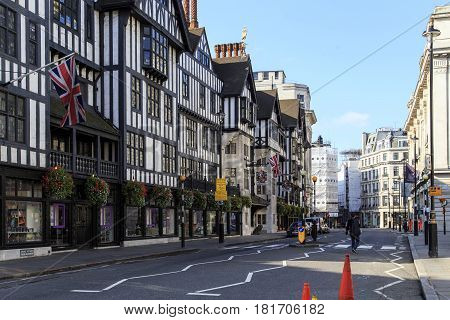 LONDON, GREAT BRITAIN - SEPTEMBER 21, 2014: This is department store 'Liberty' in an imposing Tudor style building on Great Marlborough Street.