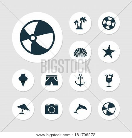 Season Icons Set. Collection Of Dinghy, Star, Parasol And Other Elements. Also Includes Symbols Such As Sweets, Underwear, Cocos.