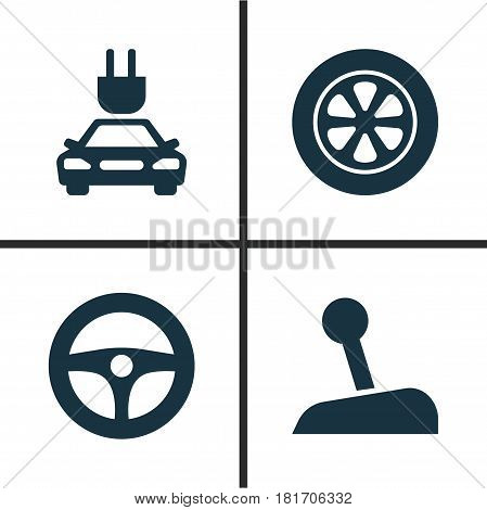 Automobile Icons Set. Collection Of Plug, Drive Control, Wheel And Other Elements. Also Includes Symbols Such As Control, Wheel, Stick.
