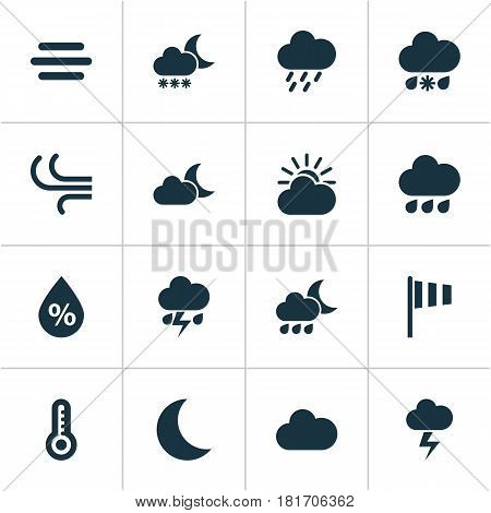 Weather Icons Set. Collection Of Sun-Cloud, Haze, Moon And Other Elements. Also Includes Symbols Such As Fog, Cloud, Shower.