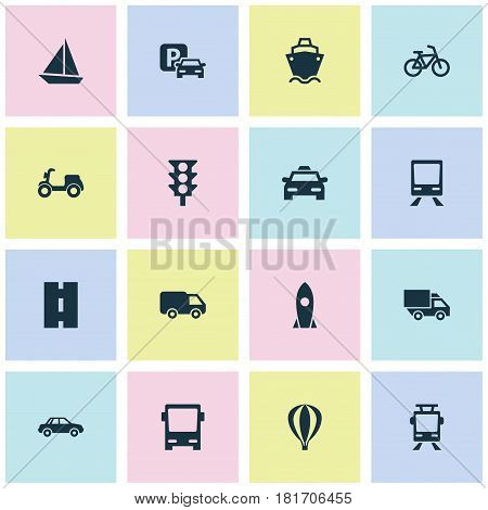 Shipment Icons Set. Collection Of Road Sign, Streetcar, Automobile And Other Elements. Also Includes Symbols Such As Tanker, Cab, Velocipede.