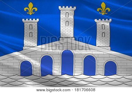 Flag of Villeneuve-sur-Lot is a town and commune in the southwestern French department of Lot-et-Garonne. 3d illustration