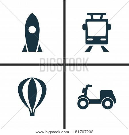 Transport Icons Set. Collection Of Spaceship, Airship, Skooter And Other Elements. Also Includes Symbols Such As Moped, Air, Balloon.