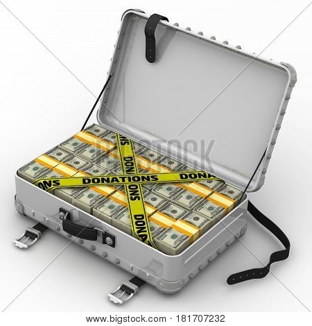 Donations. A suitcase filled with packs of American dollars and yellow tapes with text