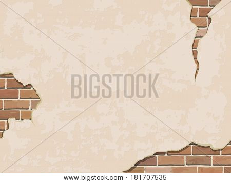 Weathered wall background with brick. Vector realistic illustration.