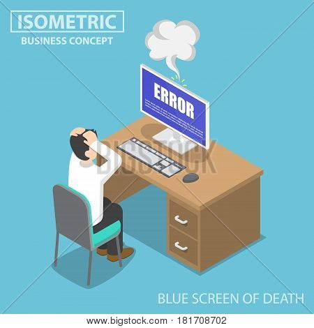 Isometric Businessman Having Problems When His Computer Show Blue Screen Error