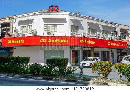 Labuan,Malaysiai-Apr 7,2017:View of AmBank building in Labuan island,Malaysia on 7th Apr 2017.Established in August 1975,AmBank Group is one of the largest banking groups in Malaysia.