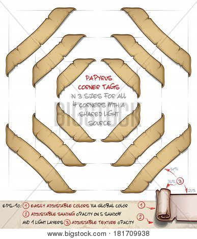 Vector cartoon illustration of aged old papyrus or parchment corner tags. Set of 3 sizes by 4 corners sharing the same light source. Neatly layered and labeled with Global Colors for easy editing.