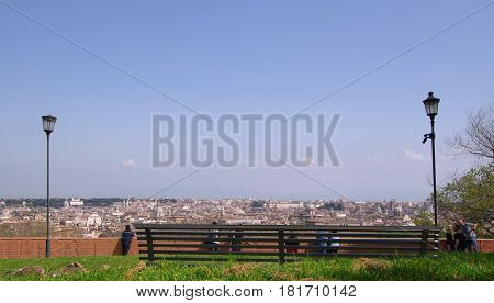 ROME ITALY - MARCH 25 2017: People enjoy the stunning view from the Gianicolo terrace