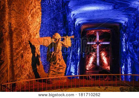 The Salt Cathderal of Zipaquira town is famous turistic place in Colombia near Bogota