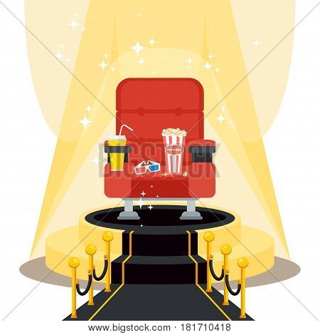 Cinema seats in a cinema with popcorn, drinks and glasses on luxurious catwalk with black carpet. Flat vector cartoon illustration. Objects isolated on a white background.