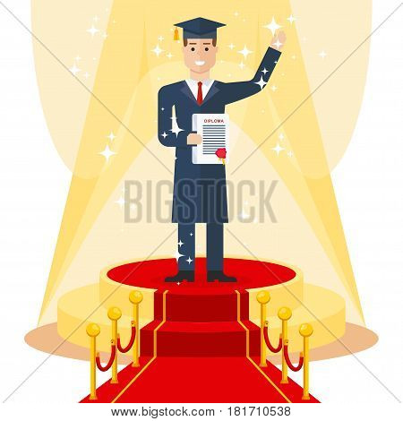 Young joyful graduate student in mortarboard and robe with diploma in his hands stand on luxurious catwalk with red carpet. Flat vector cartoon illustration. Objects isolated on a white background.