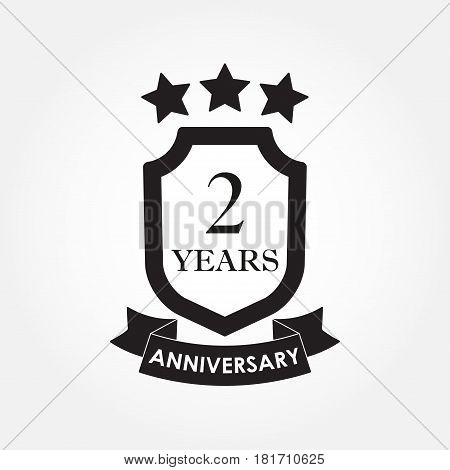 2 years anniversary icon or emblem. 2th anniversary label. Celebration invitation and congratulation design element. Vector illustration