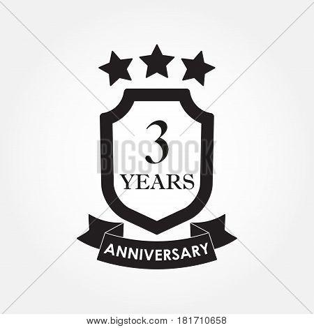 3 years anniversary icon or emblem. 3th anniversary label. Celebration invitation and congratulation design element. Vector illustration