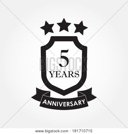 5 years anniversary icon or emblem. 5th anniversary label. Celebration invitation and congratulation design element. Vector illustration