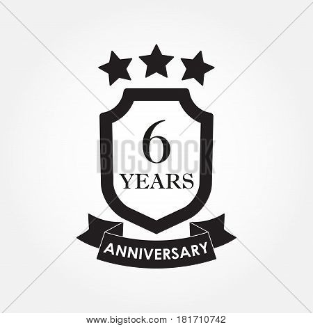 6 years anniversary icon or emblem.6th anniversary label. Celebration invitation and congratulation design element. Vector illustration