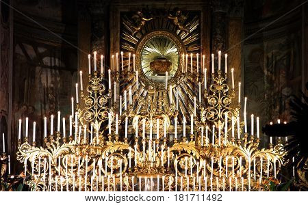 ROME ITALY - APRIL 13 2017: The Forty Hours' Devotion Machine every year since the XVII century 213 candles have lit up in the church of Santa Maria dell Orto in Trastevere