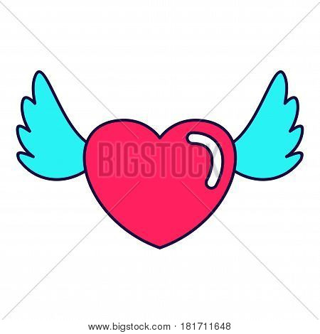 Heart love wings lines icon. Fashion patch, pin badges set inspried by 80s - 90s comic style. Flat vector cartoon illustration. Objects isolated on a white background.