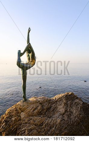 BUDVA MONTENEGRO - SEPTEMBER 18 2015: Sculpture