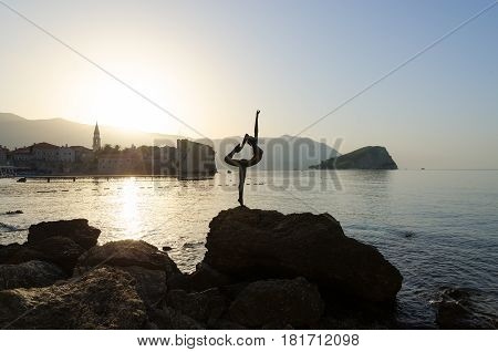 BUDVA MONTENEGRO - SEPTEMBER 18 2015: Silhouette of sculpture