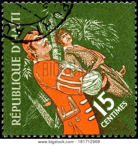 UKRAINE - CIRCA 2017: A postage stamp printed in Haiti shows two pirates from the series Tourism. History of Tortuga Island circa 1961
