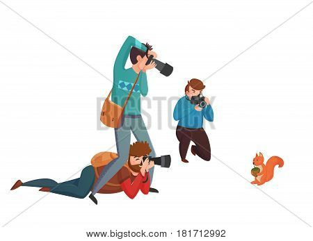 Nature photographer design concept with three men with camera shooting squirrel flat vector illustration
