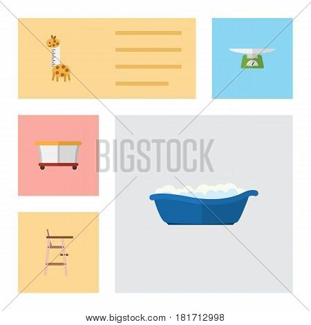 Flat Child Set Of Bathtub, Child Chair, Toy And Other Vector Objects. Also Includes Playground, Bathing, Baby Elements.
