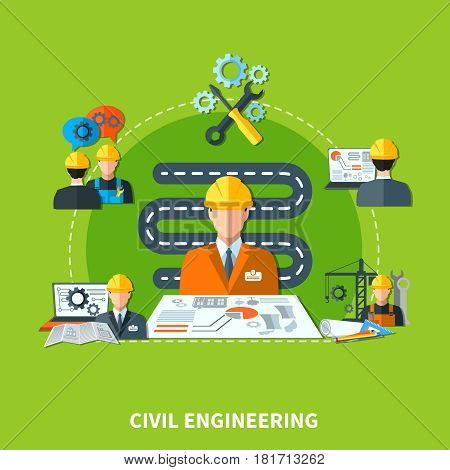 Civil engineering composition of flat design engineer and construction worker characters machinery and project layout images vector illustration