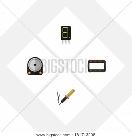 Flat Device Set Of Hdd, Mainframe, Repair And Other Vector Objects. Also Includes Calculate, Hard, Processor Elements.