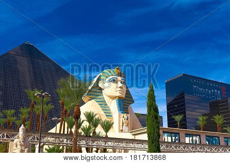 LAS VEGAS - 08 Oct 2016: Statue of Sphinx from Luxor Hotel Casino, the most recognizable hotels on the popular Vegas strip because of its striking design, Oct 08, 2016 in Las Vegas, Nevada.