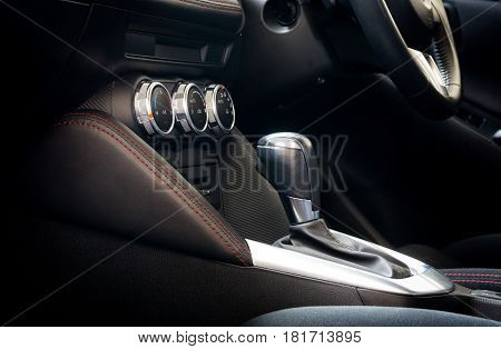 Close up interior car -  gear of car
