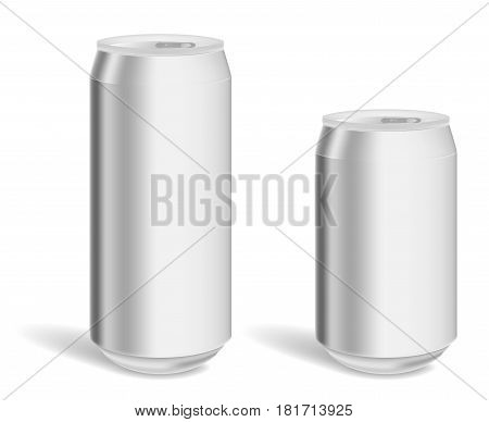Two blank aluminum cans for product mock-up