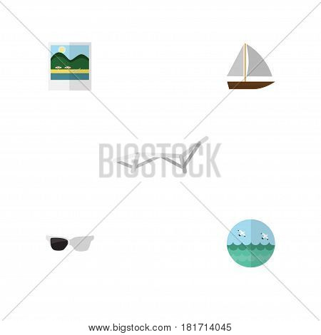 Flat Beach Set Of Deck Chair, Ocean, Spectacles And Other Vector Objects. Also Includes Bird, Spectacles, Boat Elements.